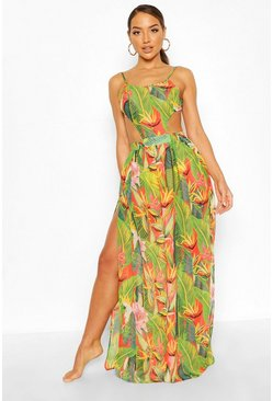 Tropicana Cut Out Maxi Beach Dress, Red, Donna