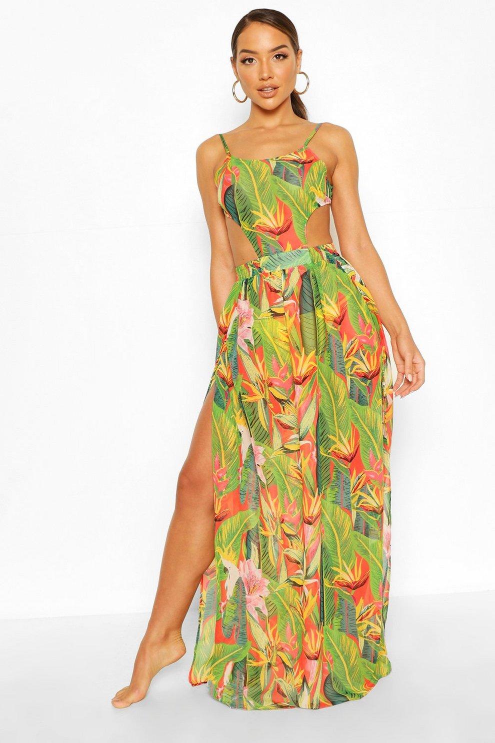 939d728890 Tropicana Cut Out Maxi Beach Dress | Boohoo