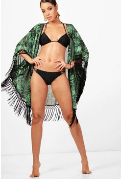 Womens Green Rainforest Heavy Fringe Kimono