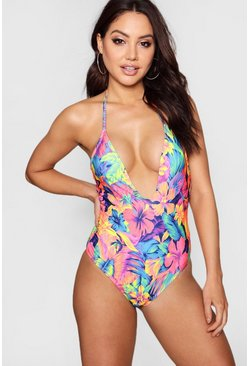 Womens Blue Tropical Plunge Swimsuit