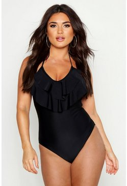 Womens Black Ruffle Halterneck Swimsuit