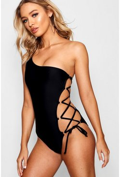 Womens Black One Shoulder Lace Up Swimsuit