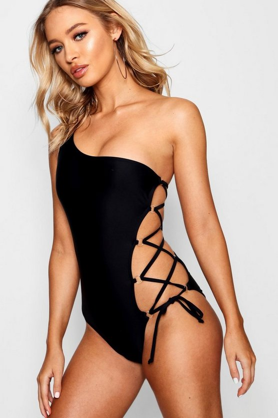 One Shoulder Lace Up Swimsuit