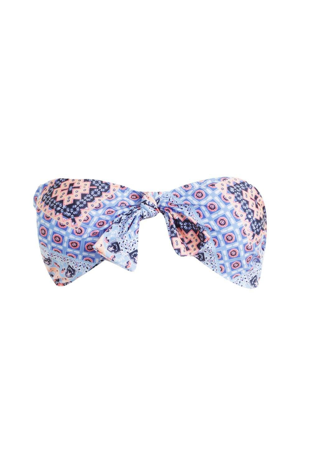 Knotted Mix Tile Bandeau Top Print Match blue amp; wUqP7Uvz