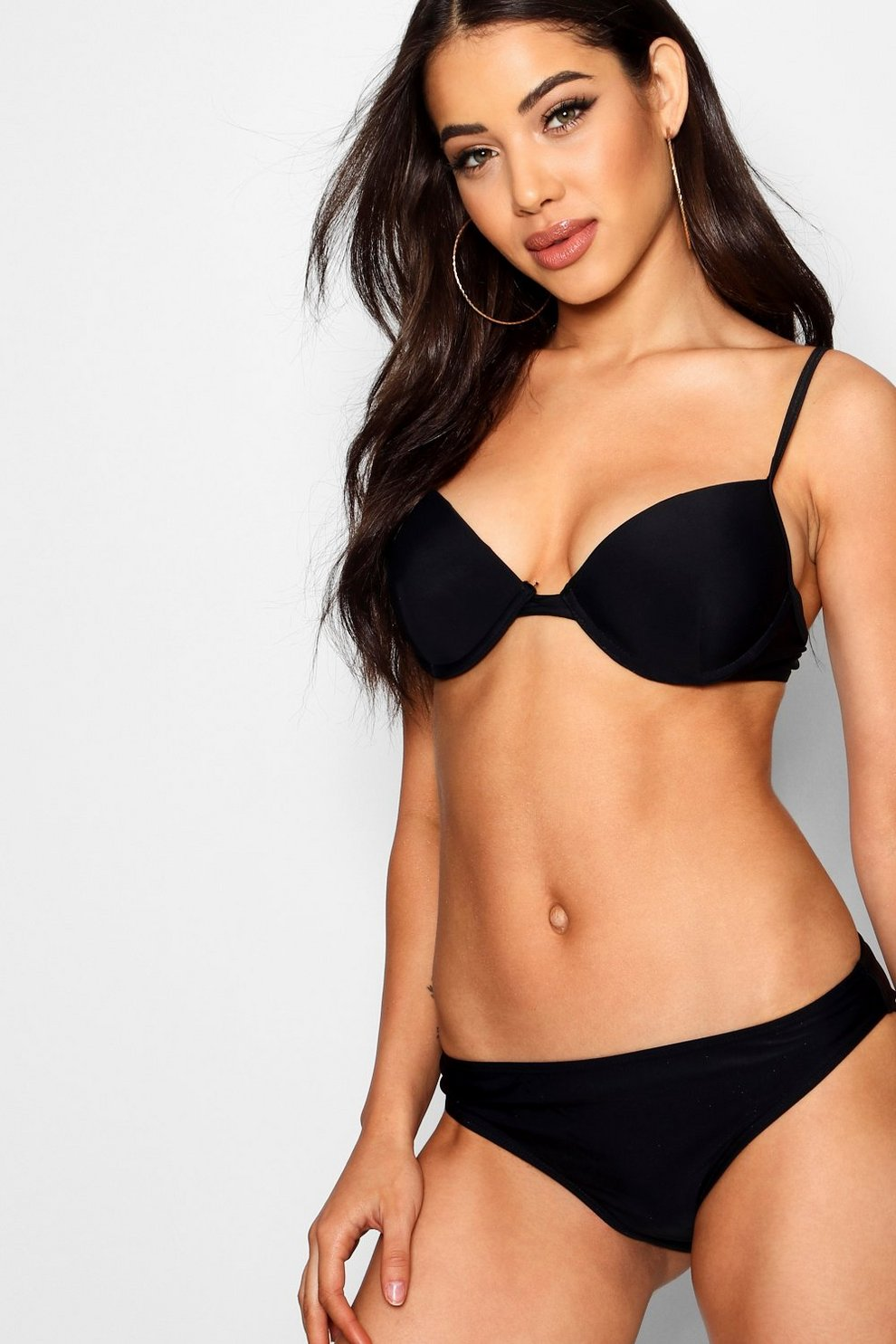04a369808a Womens Black Mix & Match Push Up Plunge Bikini Top