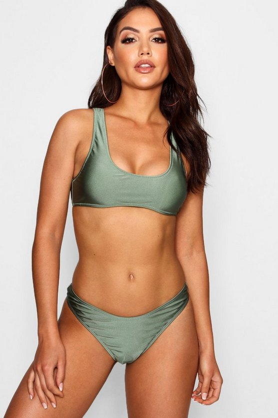 Plait Detail Crop High Leg Bikini