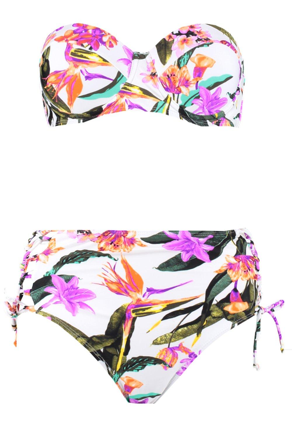 Bikini Floral Waisted High Oriental white Underwired f0Cqwnzx