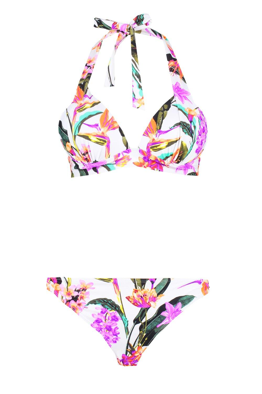 Triangle Bikini white Plunge Push Up Floral Oriental qUvpx
