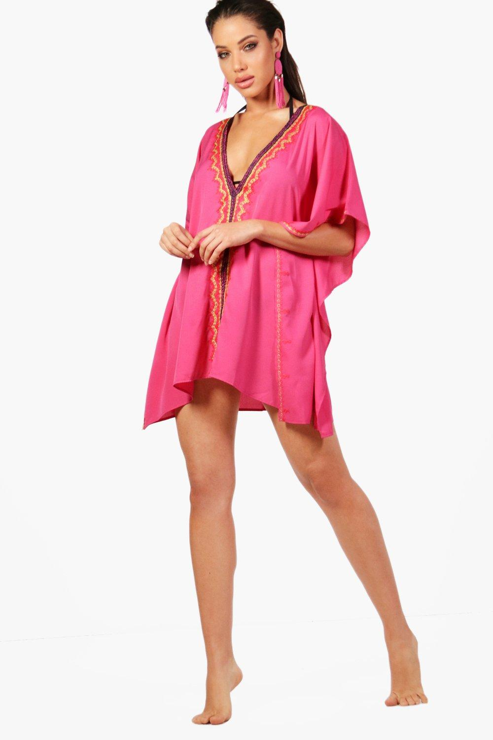 4e25986d60 Womens Pink Embroidered Beach Kaftan. Hover to zoom