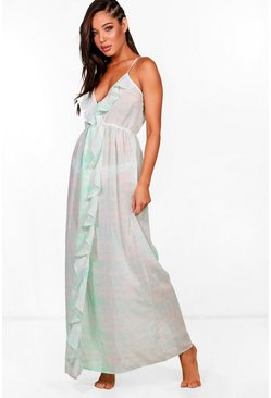 Womens Turquoise Vanessa Tie Dye Frill Maxi Beach Dress