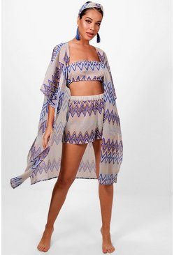 Womens Blue Hazel Zig Zag Four Piece Beach Co-ord Set