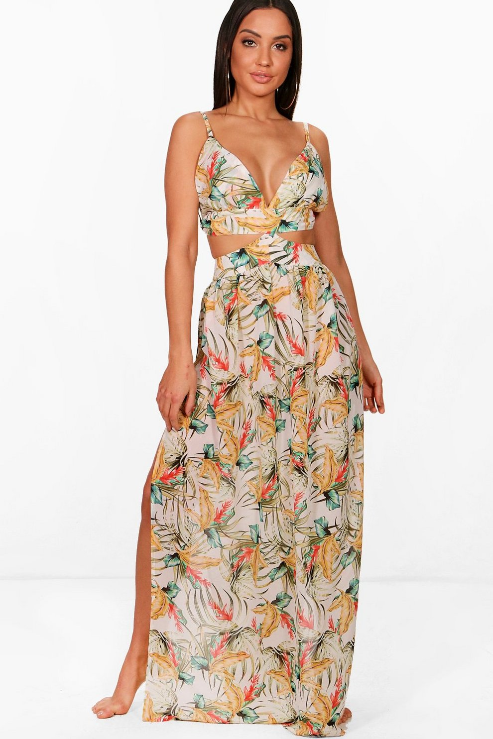 0fc827595c Ellie Tropical Print Cut Out Maxi Dress | Boohoo