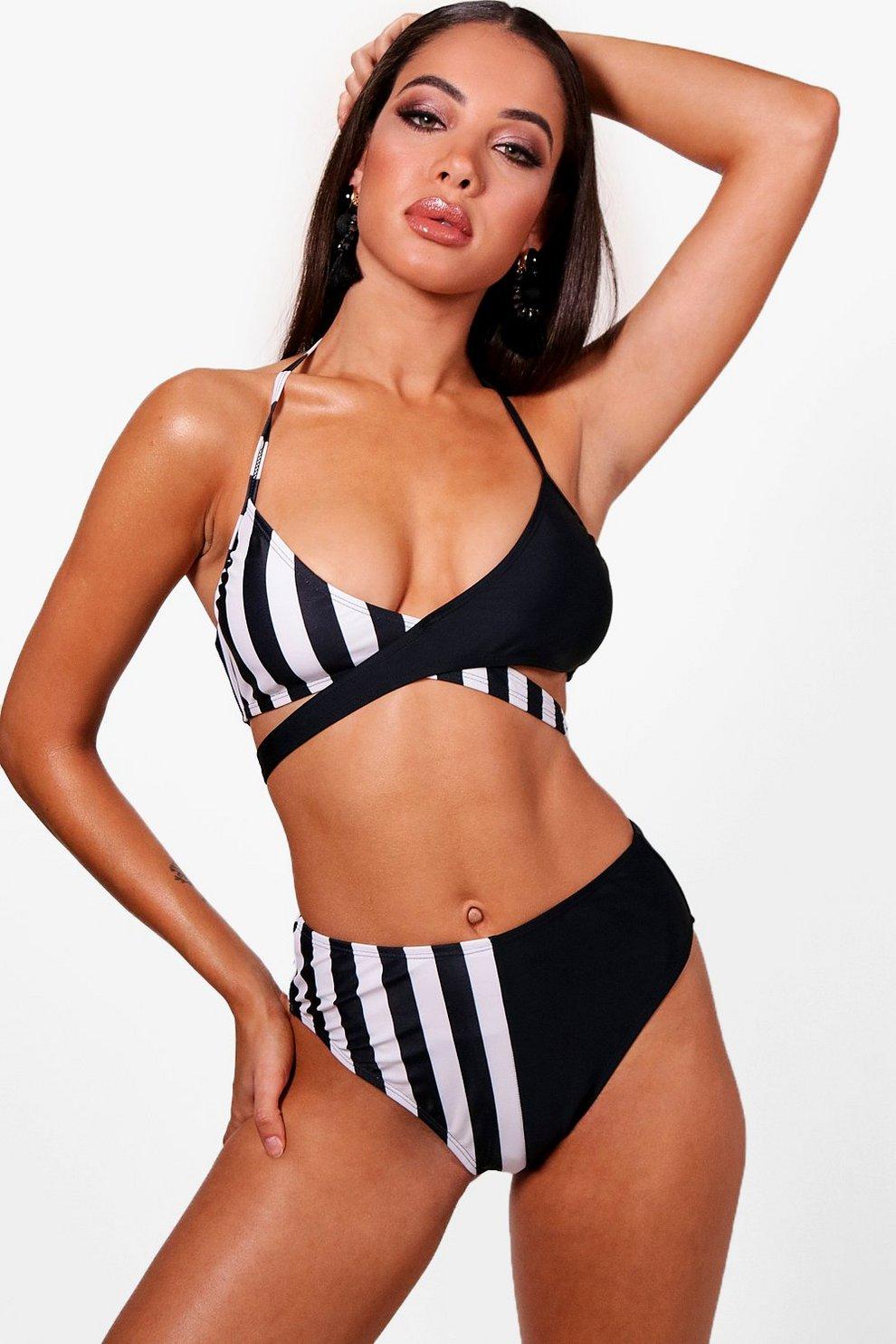 57ad566a784 Pinstripe Contrast High Waisted Bikini