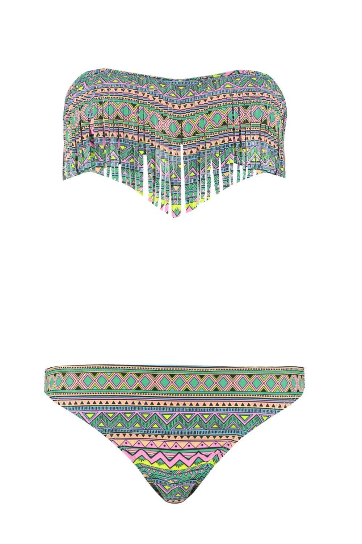 Aztec Fringe Bikini Tie Self Bandeau green zzvnaprwq