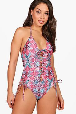 60s Swimsuits, Bathing Suits | Retro Swimwear Kos Paisley Lace Up Boho Swimsuit $38.00 AT vintagedancer.com