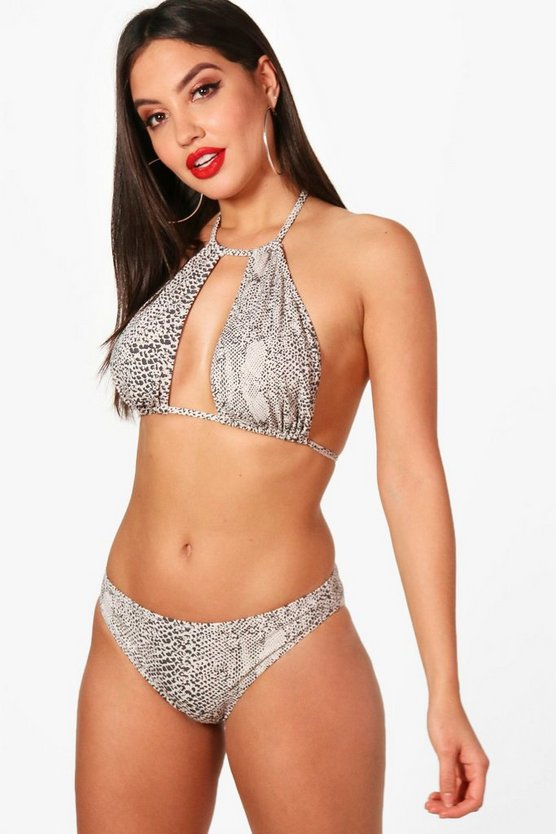 Womens White Snake Print Halter Cut Out Bikini