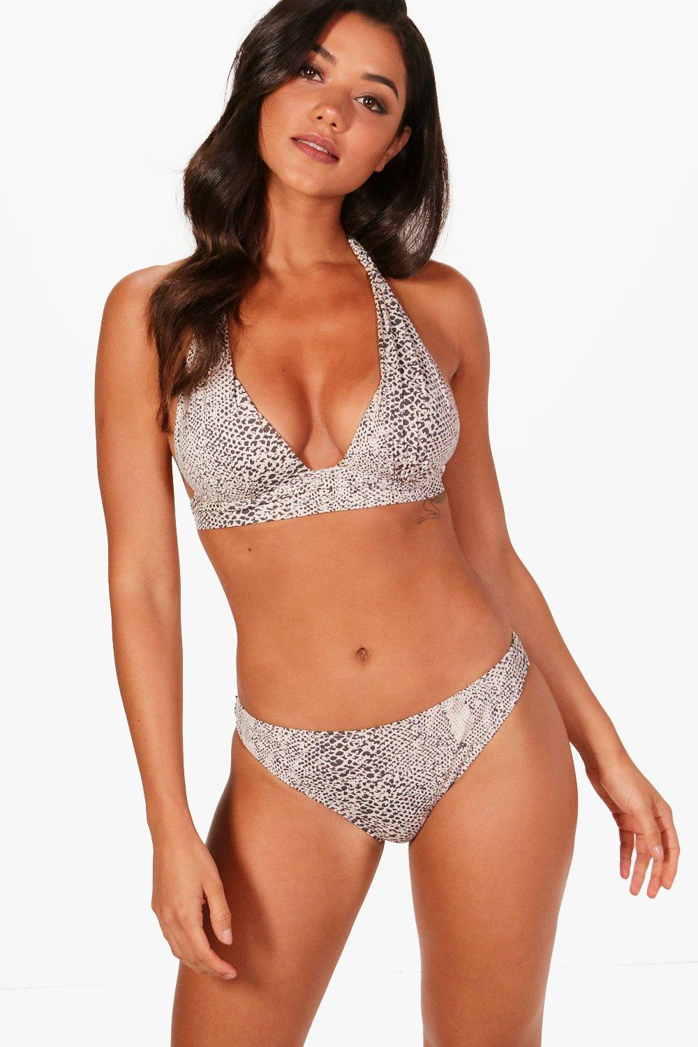 white Push Up Triangle Print Bikini Enhance Snake nfRYPFqF