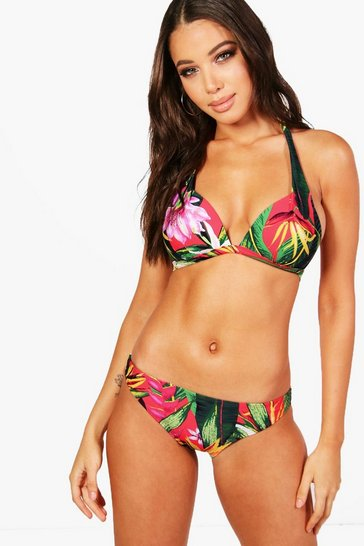 Womens Red LA Mix & Match Tropicana Push Up Plunge Enhance Top