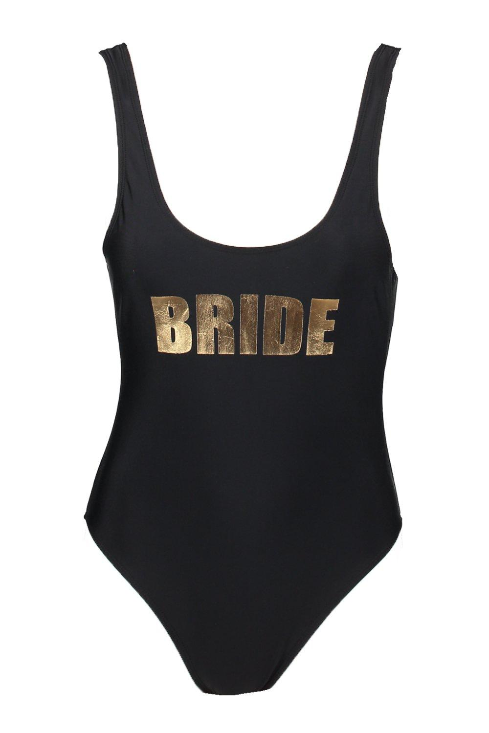 black Bride Scoop Slogan Swimsuit Malta qx0HPSwH