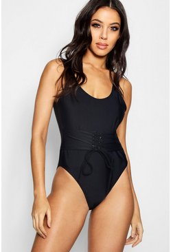 Womens Black Eyelet Waisted Push Up Enhance Swimsuit