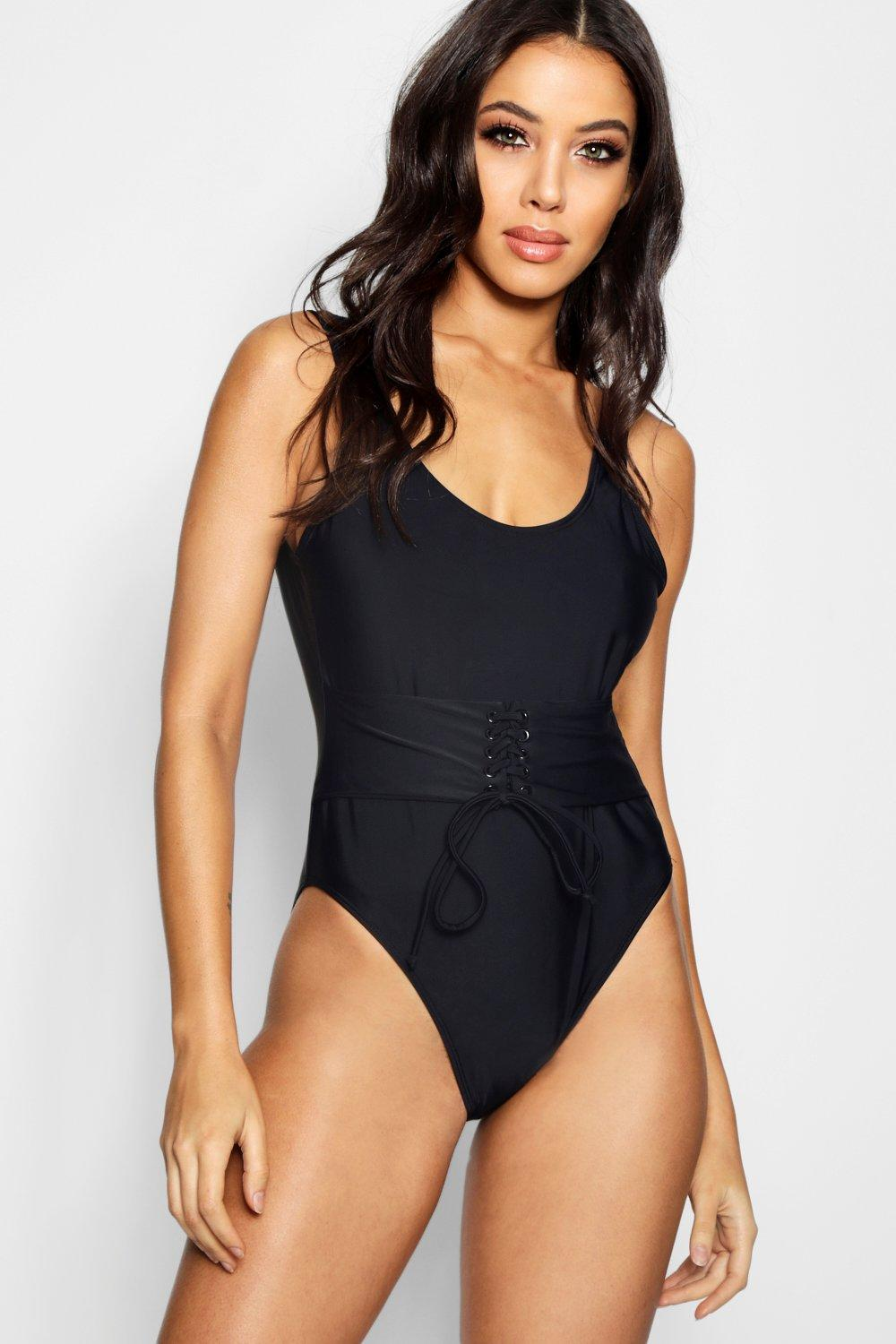 Push Waisted Swimsuit Enhance Eyelet Up black qnfxgw5Z
