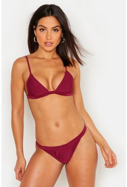 Algarve Mix & Match Elastic Trim Brief, Burgundy, FEMMES