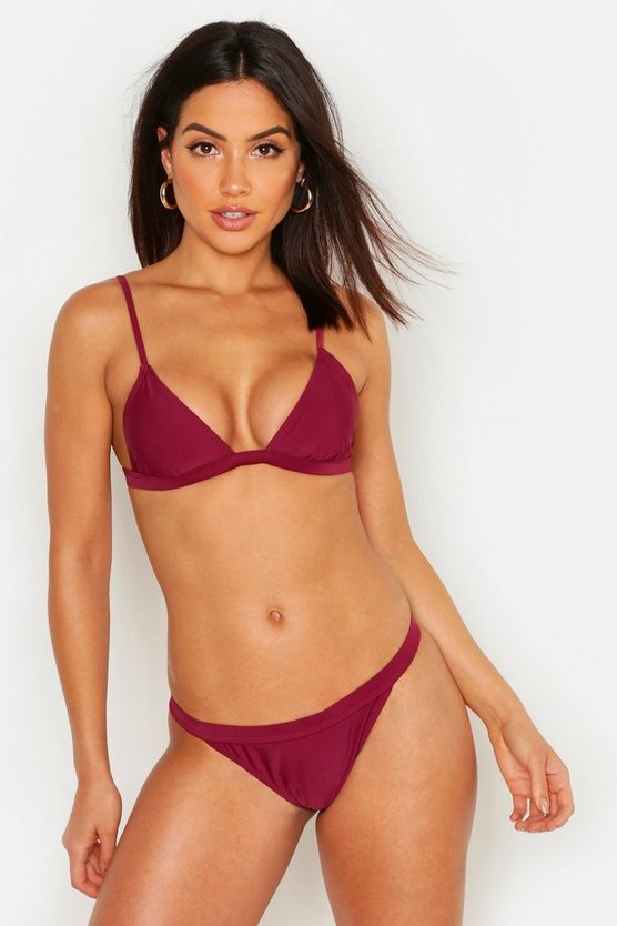 Womens Burgundy Algarve Mix & Match Elastic Trim Brief