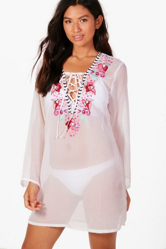 Embroidered Lace Up Beach Kaftan