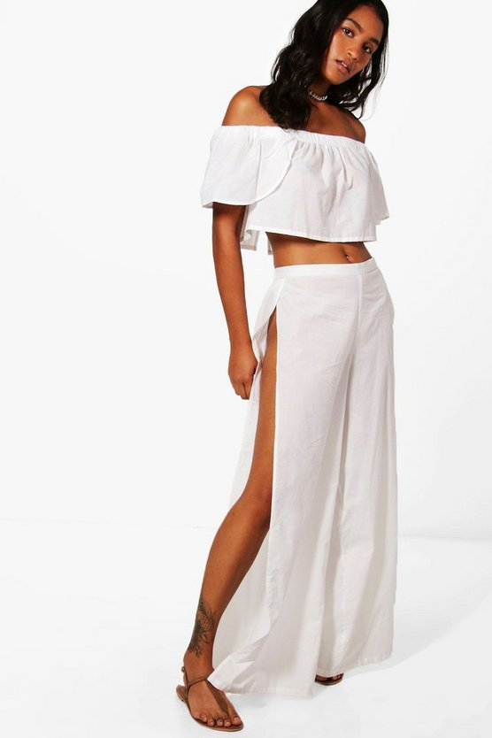 Womens White Esme Split Leg Beach Co-ord