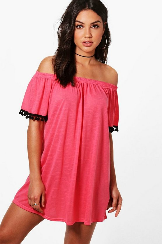 Anya Pom Pom Bardot Beach Dress
