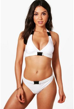 Womens White Mallorca Buckle Detail High Leg Bikini