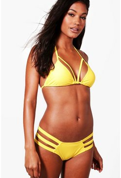Womens Yellow Mix & Match Strappy Triangle Top