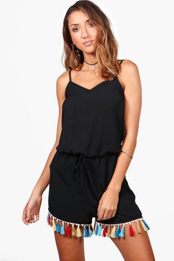 Willow Tassel Trim Beach Playsuit