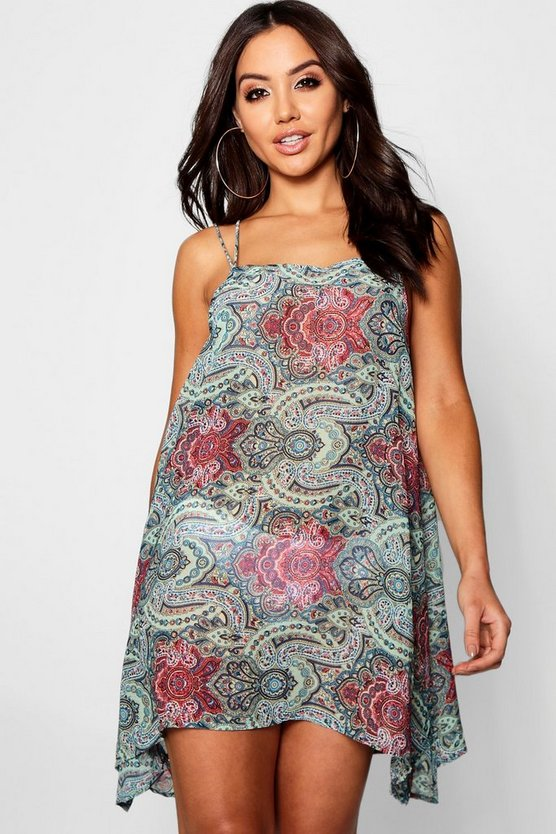 Multi Paisley Swing Beach Dress