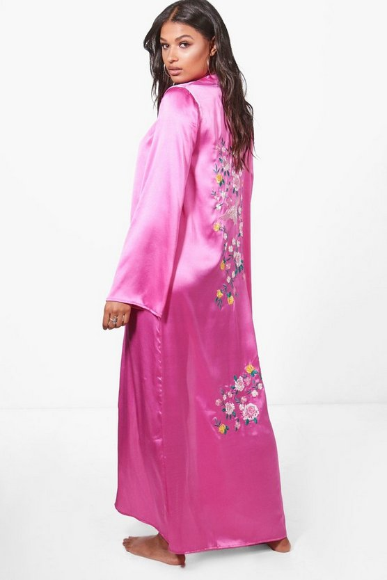 Mia Boutique Embroidered Oriental Beach Kimono