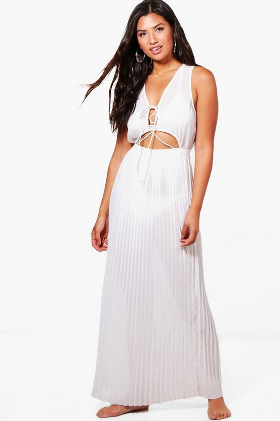 Lace Up Pleated Maxi Beach Dress