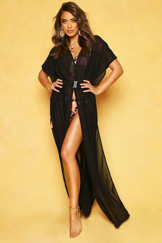 Betsy Belted Beach Kimono, Black, Donna