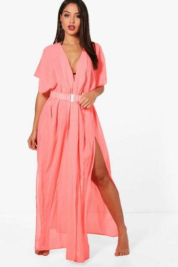 Womens Coral Betsy Belted Beach Kimono
