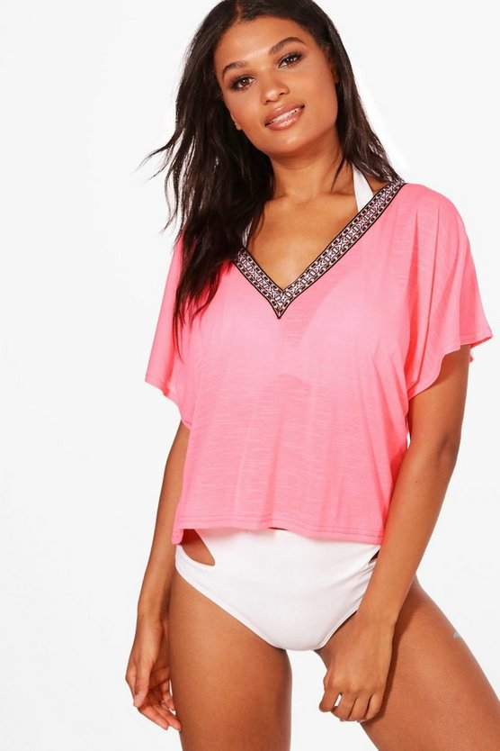 Emma Embroidered Tape Slouch Beach Top