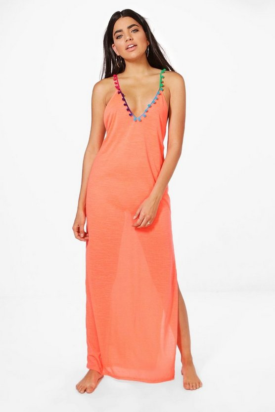 Jasmine Pom Pom Trim Maxi Beach Dress