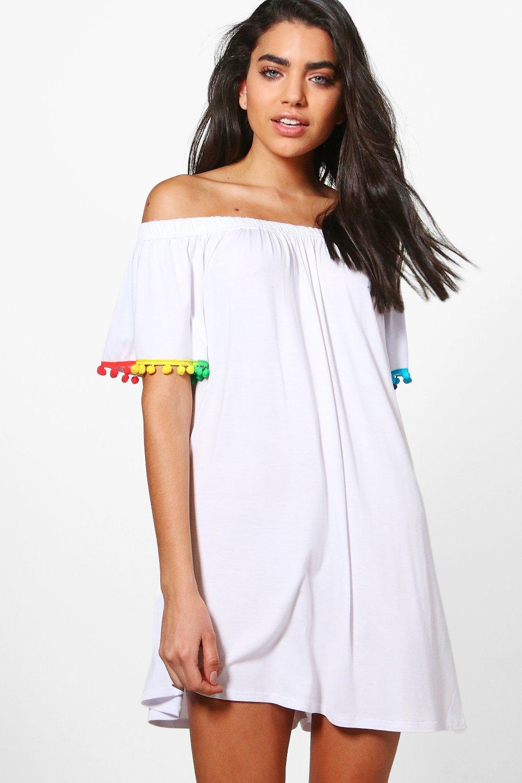 b979d6bd0e93d Womens White Eva Pom Pom Bardot Beach Dress