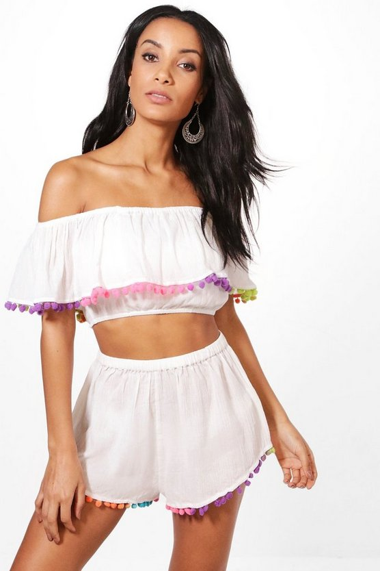 Lilly Rainbow Neon Pom Pom Beach Co-Ord