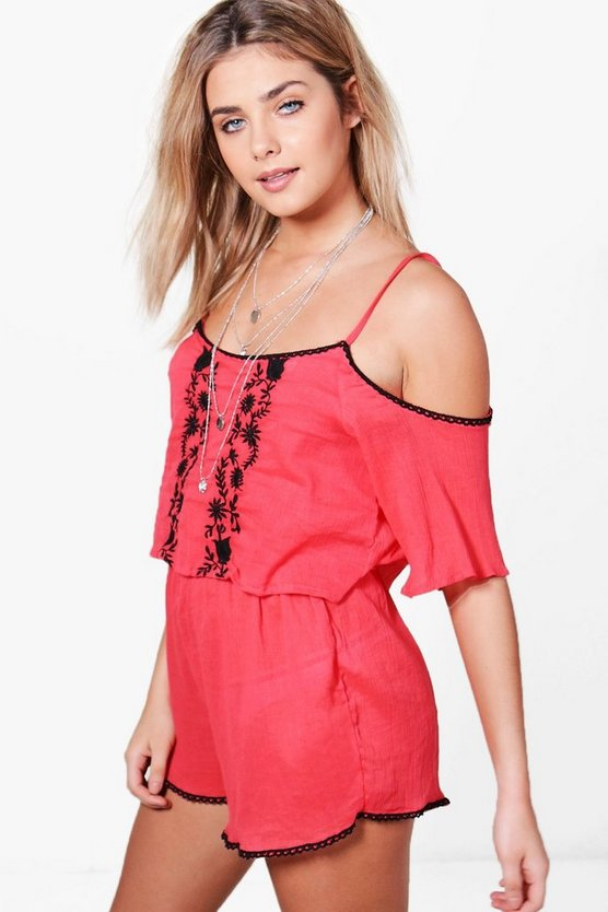 Womens Coral Faith Embroidered Cold Shoulder Beach Playsuit
