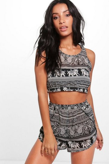 Womens Black Elephant Beach Co-ord