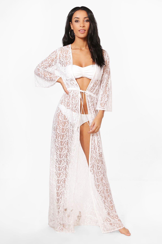 4144200b60 Womens White Lace Maxi Beach Kimono. Hover to zoom