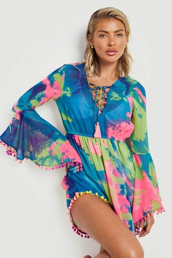 Womens Multi Tropical Pom Pom Beach Dress