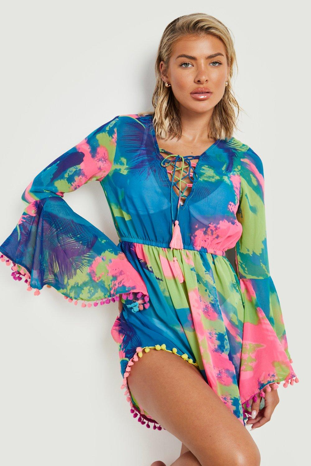 multi Beach Tropical Pom Dress Pom UgB4C