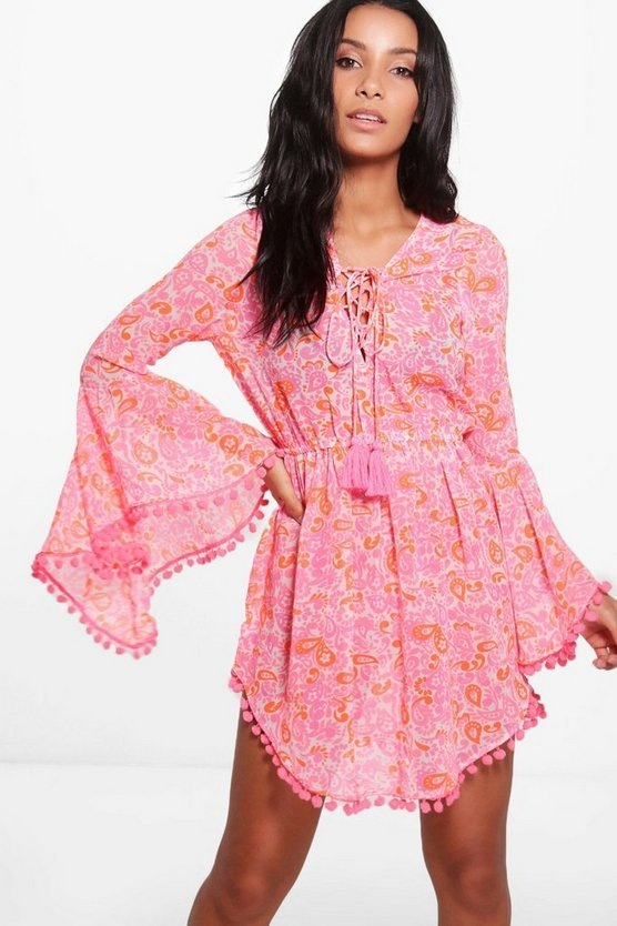 Eliza Neon Paisley Pom Pom Dress