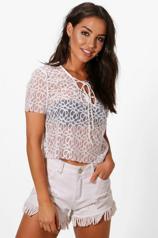 Megan Lace Up Beach Top
