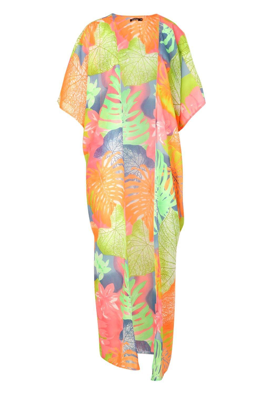 Beach Tropical Leaf Maxi Kimono multi Neon fFtwqA6w